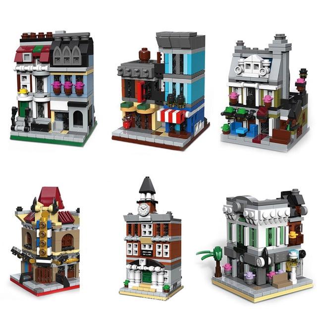 6 en 1 City Mini Street Store série cinéma animalerie hôtel de ville modèle de banque bloc de construction jouets pour enfants cadeaux danniversaire lugubre