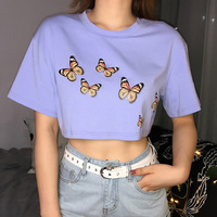 Purple Basic Summer Tshirt Women Cute Butterfly Cartoon Graphic T Shirts Short Sleeve Vintage 90's Chic Cotton Top Tees 0613 29