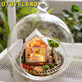 UTOYSLAND DIY Wooden Pandora Magic Garden 3D Miniature Toy Doll House Voice Control LED Light Crystal Glass Ball Kids Toys