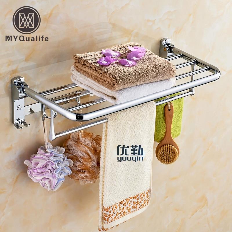 Wall Mounted Folding Bath Towel Rack Chrome Polished Bathroom Towel Shelf Towel Rod Towel Hooks wall mounted folding bath towel rack chrome polished bathroom towel shelf towel rod towel hooks
