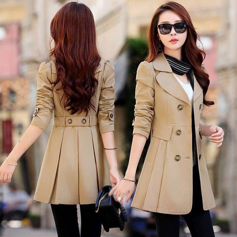 Spring Khaki   Trench   Coat for Women Casual 6 Colors Turn-down Collar Slim Fit Double Breasted Female Coat Plus Size 3XL 4XL