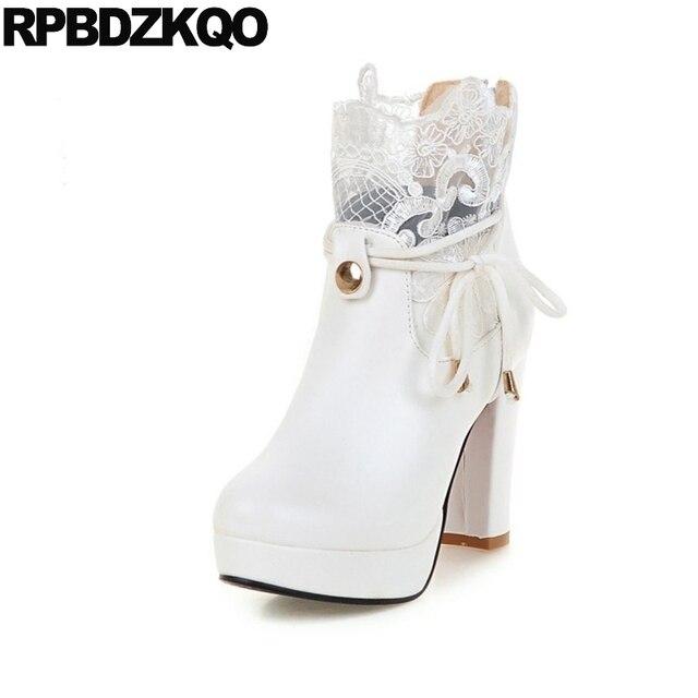 3fe204ebb1c701 Cheville De Mariée Grande Taille Plate-Forme Chunky Chaussures Plus  Chaussons Pas Cher Dentelle Up