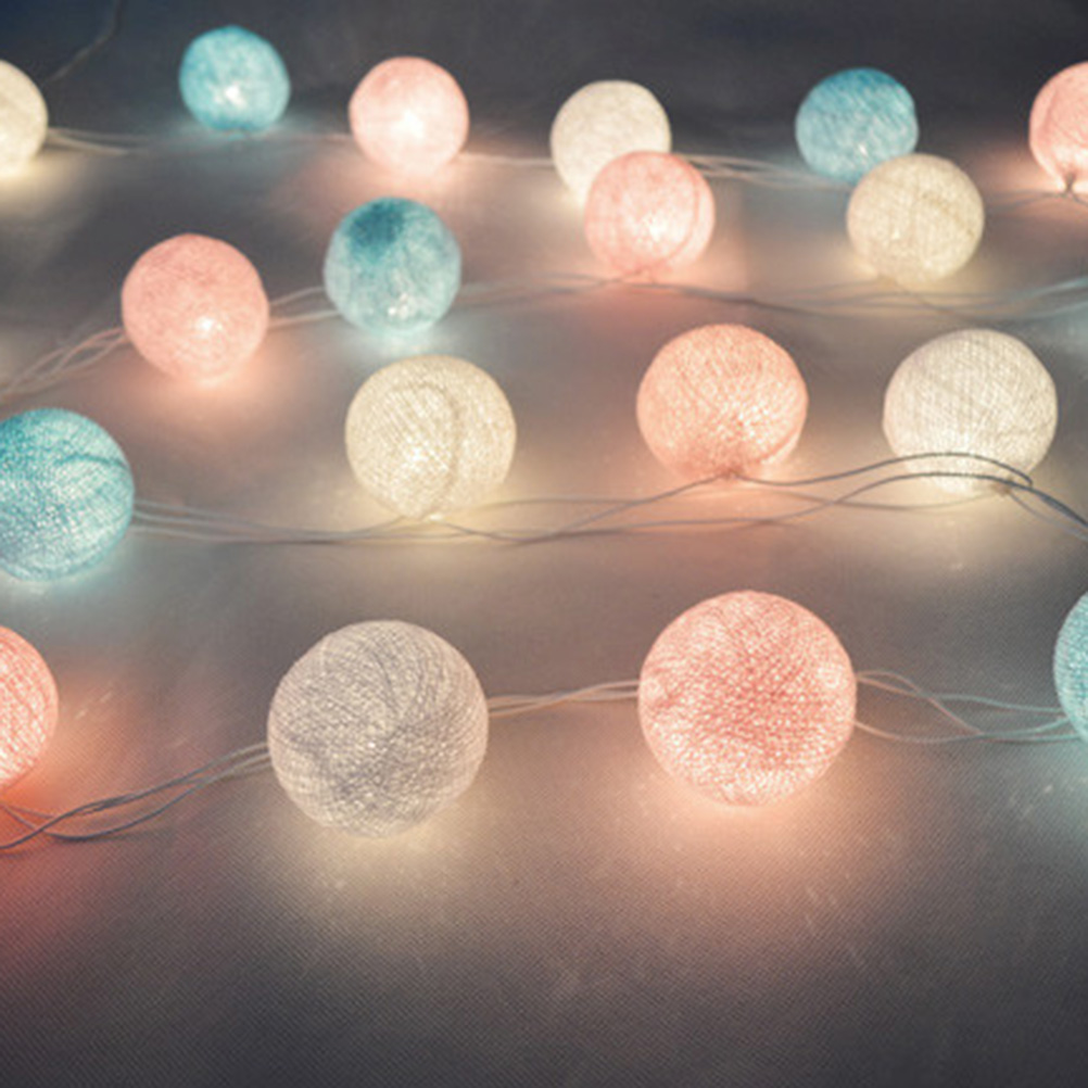 20 led fabric cotton ball string fairy lights party. Black Bedroom Furniture Sets. Home Design Ideas