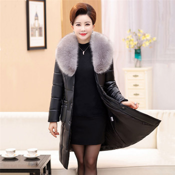Women Winter Medium Long Leather Jacket Warm Slim Fur Collar Pu Leather Outerwear 2019 Fashion Large Size Middle-Aged Coat FC66
