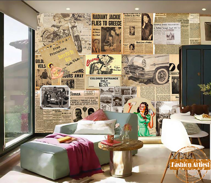 Custom Vintage European Old Times Wallpaper Mural Newspaper Magazine Clipart Tv Sofa Bedroom Living Room Cafe Bar Background In Wallpapers From Home