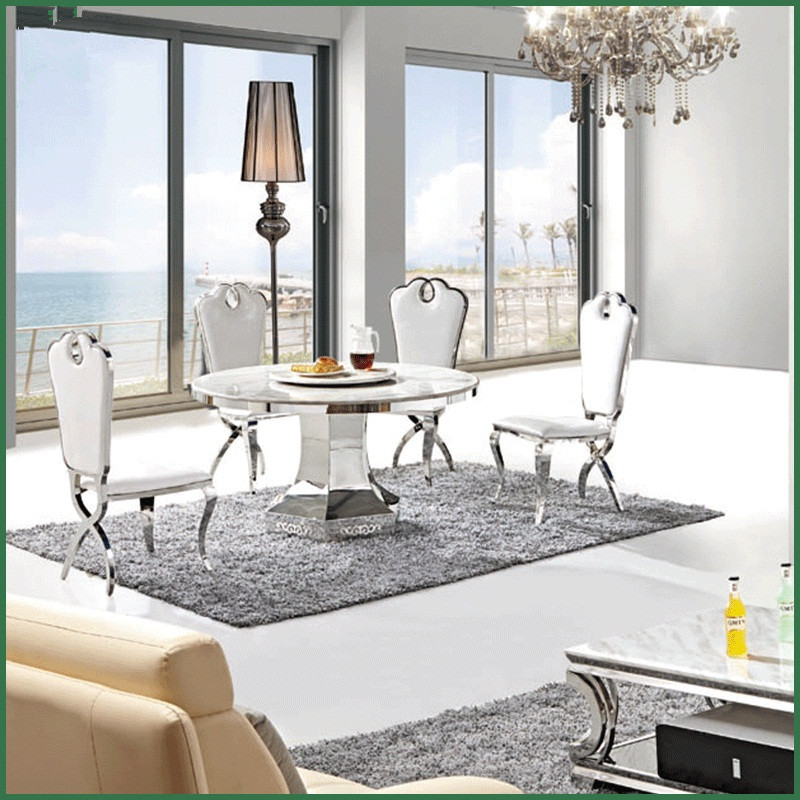 Stylish White Marble Top Round Dining Table With Stainless Steel Frame  Bottom Round Table Furniture In Dining Tables From Furniture On  Aliexpress.com ...