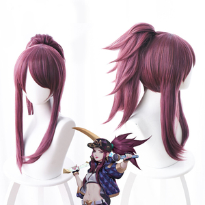 Image 1 - LOL New Skin K/DA Cosplay Wigs Akali Cosplay Headwear Game LOL KDA 45CM Mixed purple Heat Resistant Synthetic Hair Wig