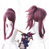 LOL New Skin K/DA Cosplay Wigs Akali Cosplay Headwear Game LOL KDA 45CM Mixed purple Heat Resistant Synthetic Hair Wig