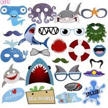 25pcs Baby Shark Photo Booth Props Birthday Party Photobooth Shoot Deep Sea Favors