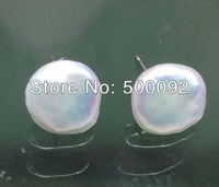 Stunning Huge 13 14mm White Cultured Freshwater Pearl Stud Earrring 925 Sterling Silver Stud