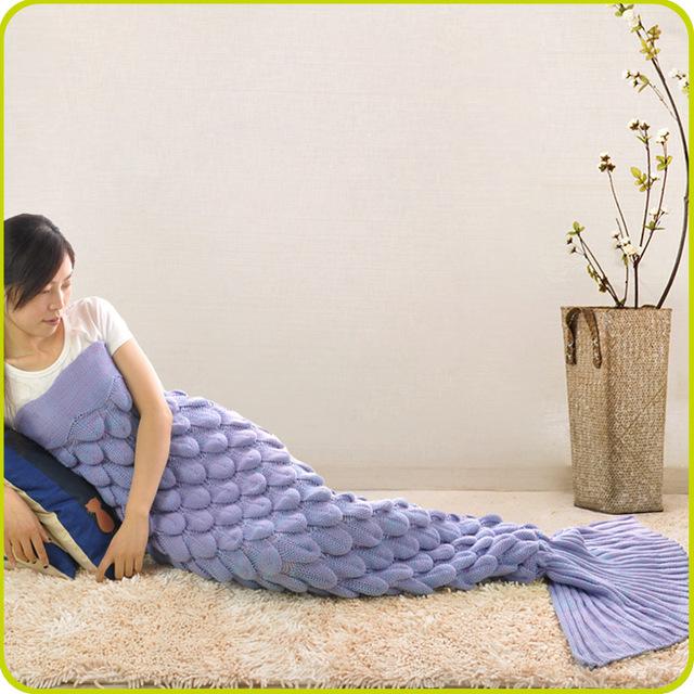 Forma de Escamas de pescado Cola de Sirena Populares Sofá Manta Manta de Primavera Manta Colorida Caliente Dormir Manta De Punto Sirena