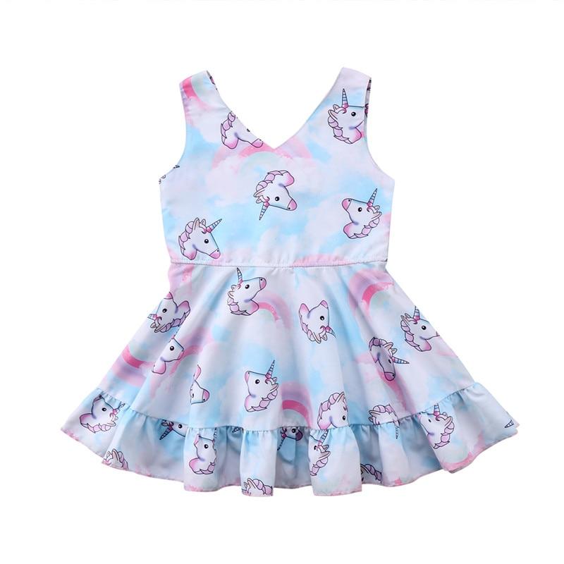 Princess Kids Baby Girl Dress Summer Sleeveless Girls Dresses Unicorn Cotton V-neck Casual Party Dresses Girls Clothing 1-6T платье для девочек party dresses for girls baby 2 11 casual girl dress