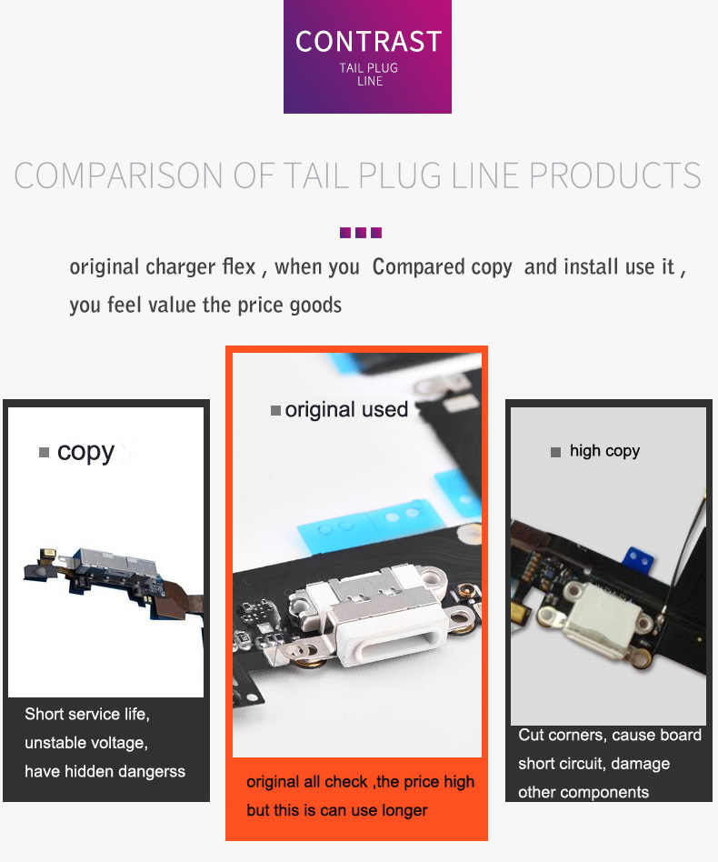 best website 94127 2c9c8 Original For iPhone 4.7 8 7 7 plus 6 6s plus 5.5 Charger Charging port Dock  USB Connector Data Flex Cable Headphone Jack Flex