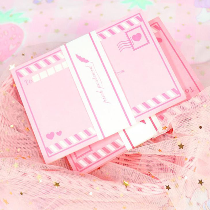 8 Pcs/pack Sweet Pink Heart Love Paper Greeting Cards Wedding Birthday Mother's Day Card Message Postcards Stationery Gifts