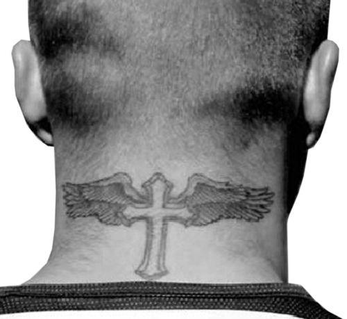 Alas De ángel Cruz Tatuajes Temporales Beckham Cuello Etiqueta