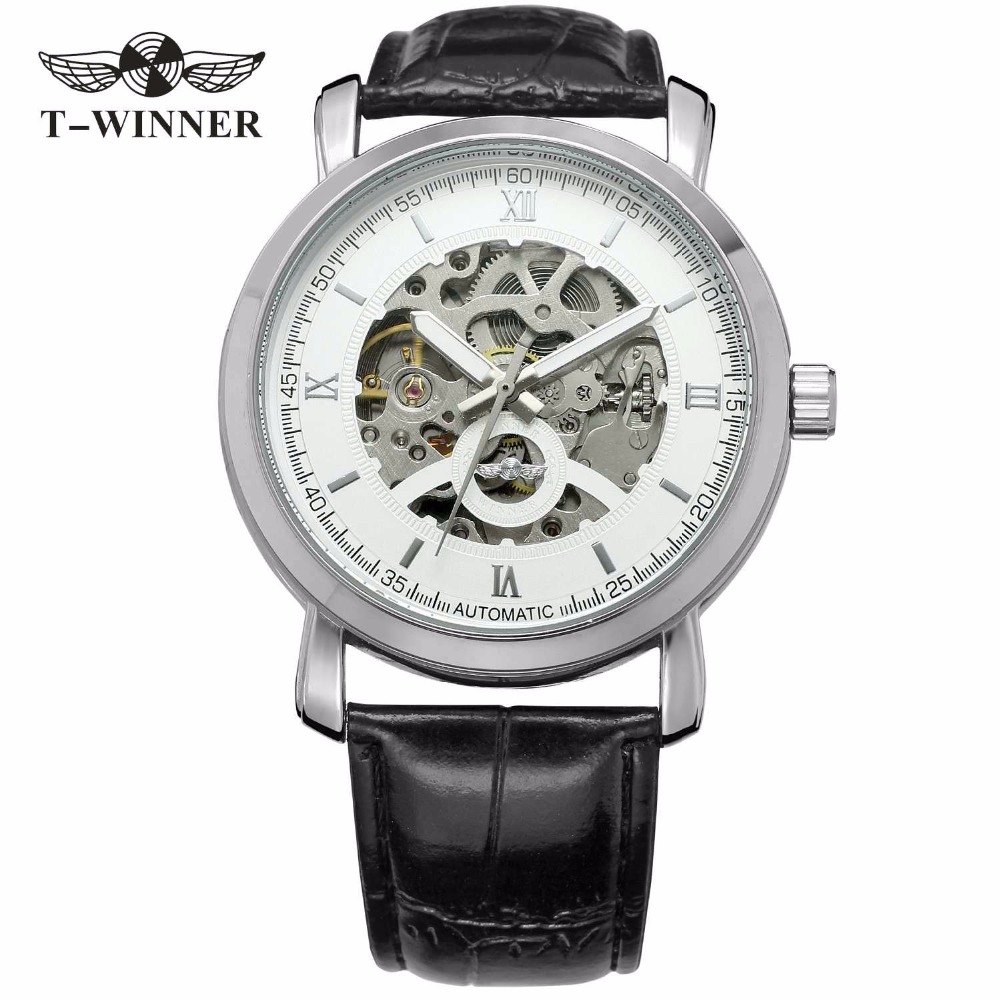 WINNER Concise Men Auto Mechanical Watch Leather Strap Skeleton Dial Roman Number Luminous Hands Top Brand Design Wristwatch vintage cool black hollow case with roman number dial skeleton steampunk mechanical pocket watch with chain to men women
