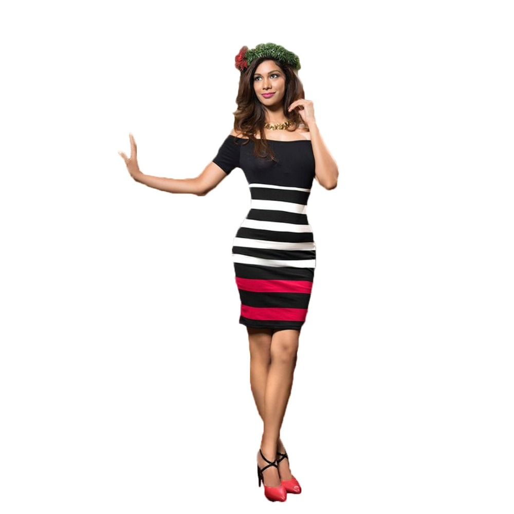 Slash neck dress cute women work office wear striped print brief ladies bodycon dress short sleeve hight waist dresses CM-S9602 short dresses office wear