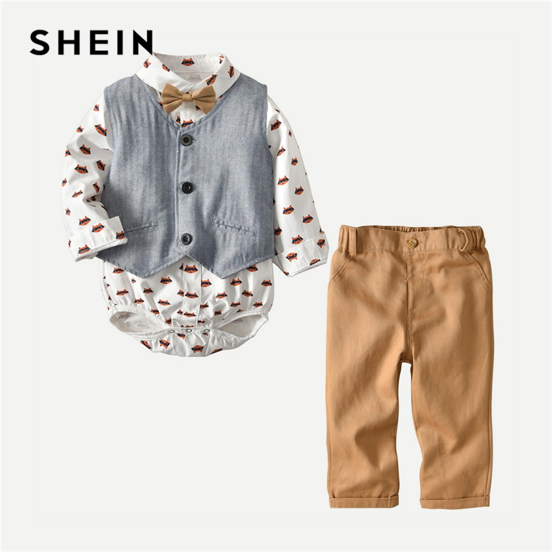 SHEIN Toddler Boys Cartoon Printed Preppy Jumpsuit And Vest And Pant 3 Piece Set 2019 Spring Fashion Bow Casual Children Clothes new 2017 brand spring autumn baby boys clothing sets fashion coat and pants boys clothes letters printed sport suits