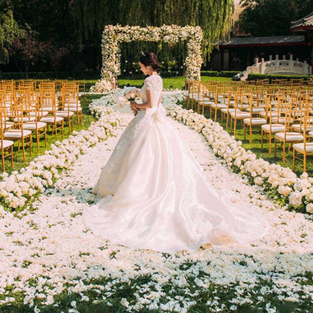 Fleur artificielle panneau mural Rose hortensia mariage toile de fond décoration fête événement hôtel faux fleur mur tapis 100*25*16 cm