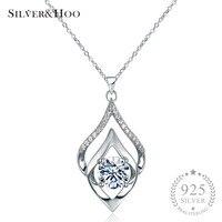 SILVERHOO Women Elegant 925 Sterling Silver Pendant Necklace Fine Jewelry Wedding Party Accessories With Shining Zircon