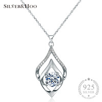 SILVERHOO Women Elegant 925 Sterling Silver Pendant Necklace Fine Jewelry Wedding Party Accessories With Shining Zircon