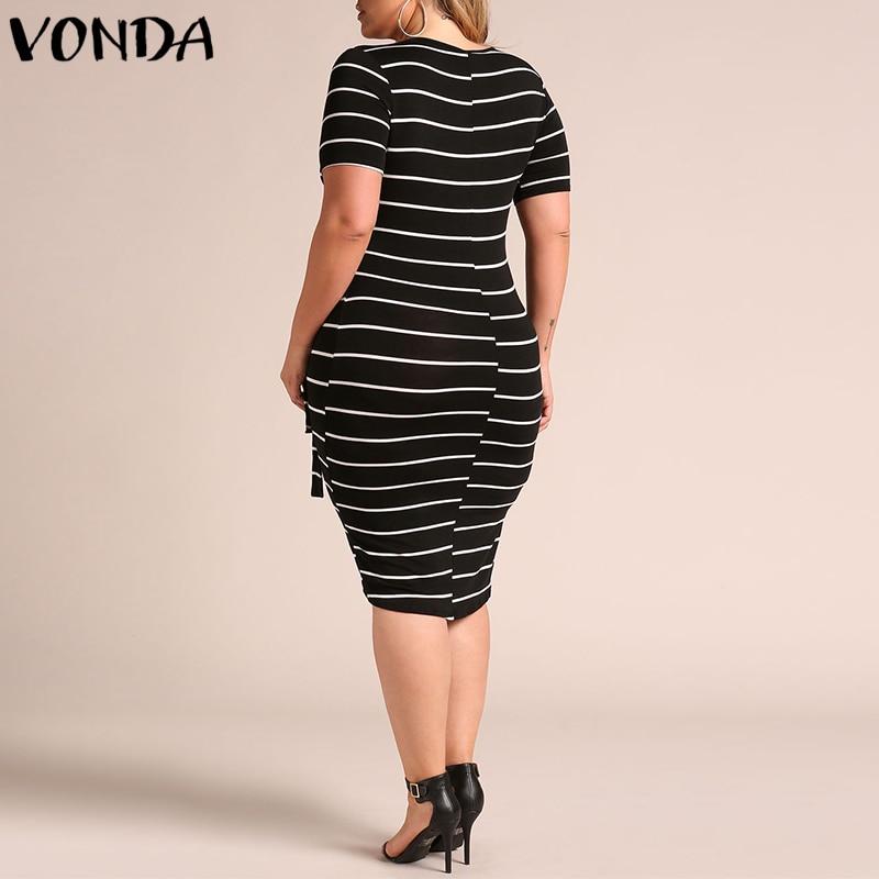 152c9289380dd VONDA Sexy Striped Dress Pregnancy Women 2019 Summer V Neck Short Sleeve  Bodycon Maternity Clothes Asymmetric Plus Size Vestidos-in Dresses from  Mother ...