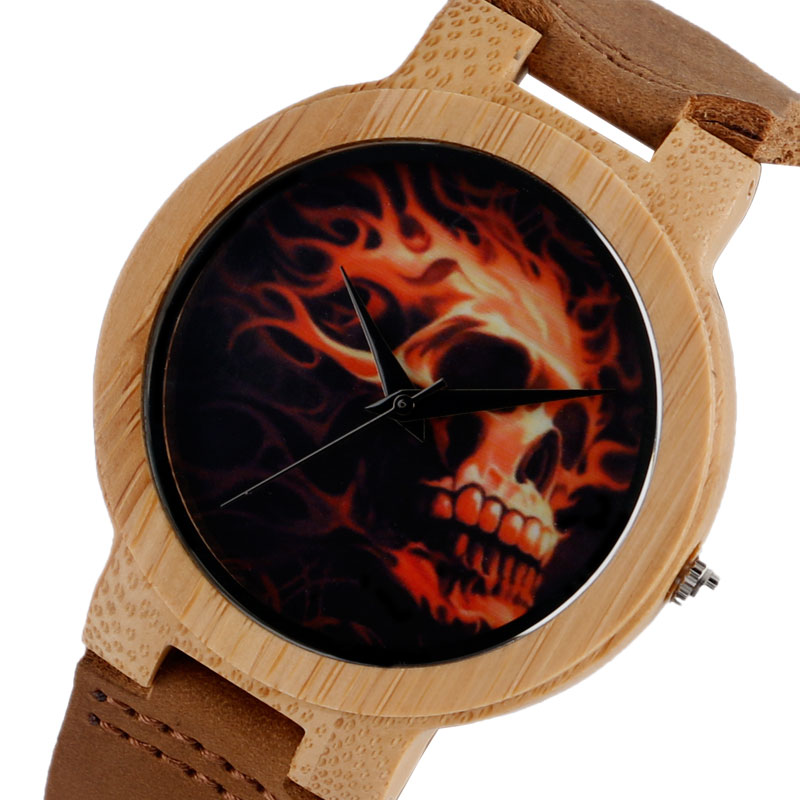 Novel Bamboo Skull Skeleton Fire Nature Wood Men Women Quartz Wrist Watch Genuine Leather Band Fashion Analog Strap Gift