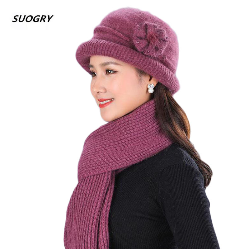 SUOGRY Women Winter Beanie Hat Rabbit Animal Skins Knit Wool Hat And Scarf Solid Colors Gorros Cap Bobble Hat Warm Skullies