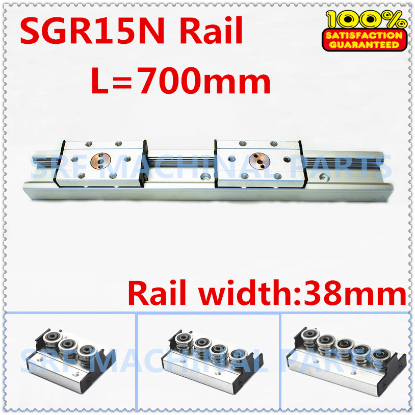 1pcs Silver Double aluminum  axis roller linear guide rail SGR15N L=700mm +1pcs SGB15NUU block  linear motion rail for CNC high rigidity roller type wheel linear rail smooth motion belt drive guide guideway manufacturer