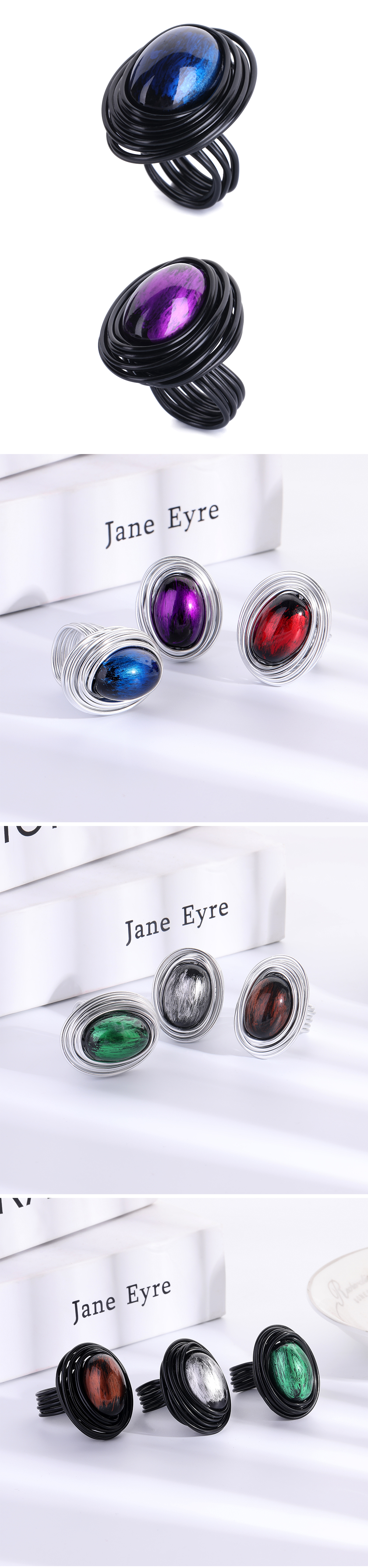 HanCheng Fashion Multi Color Wind Metal Wire Craft Stone Handmade ...