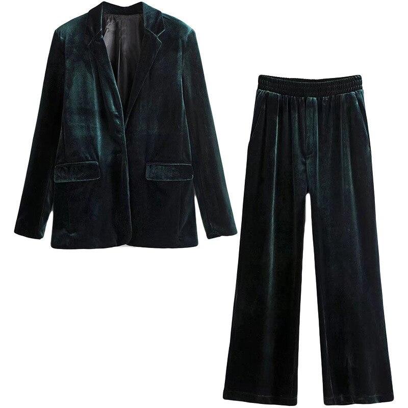 Gold velvet wide leg pants suit fashion suit female 2018 autumn new retro temperament women's suit jacket solid color thick
