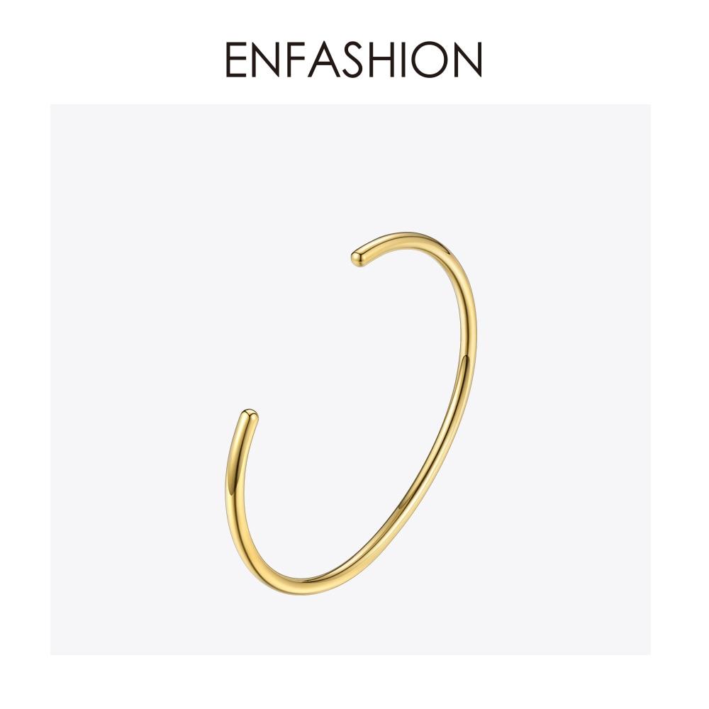 Enfashion Básico Cuff Bracelet Manchette Bangle Bracelet Para As Mulheres e Homens de aço Inoxidável da cor do Ouro Pulseiras Pulseiras Pulseiras