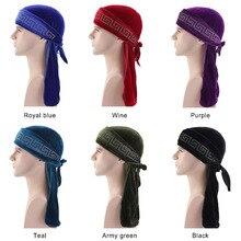купить New rhinestoned Durag Turban headwrap doo do rag Bandanas Headwear Headband Hair Cover Accessories Waves Cap по цене 172.6 рублей