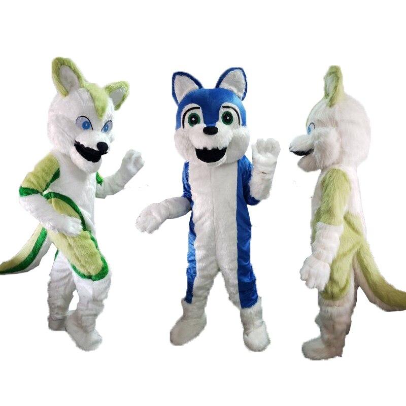 Husky loup à poils longs chien renard Mascotte Costumes Cosplay thème Mascotte carnaval Costume pour adultes noël Halloween tenue