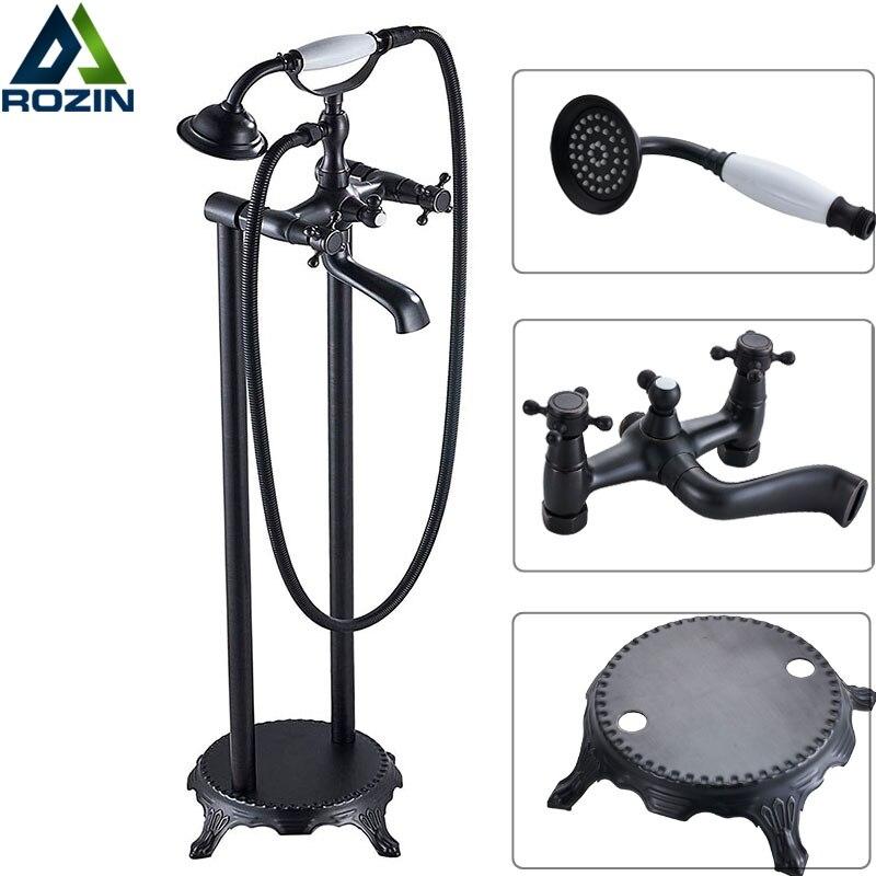 Напольные Черный Бронзовый Ванна смеситель для ванной с двойной ручкой кран для ванны раковины свободностоящая ног смеситель для ванной