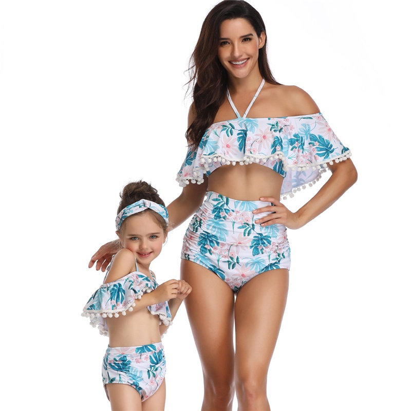 HOT Sale Family Paired Swimsuit Mother And Daughter Bikini Dress And Ruffled Floral Print Family Mother And Daughter Swimwear