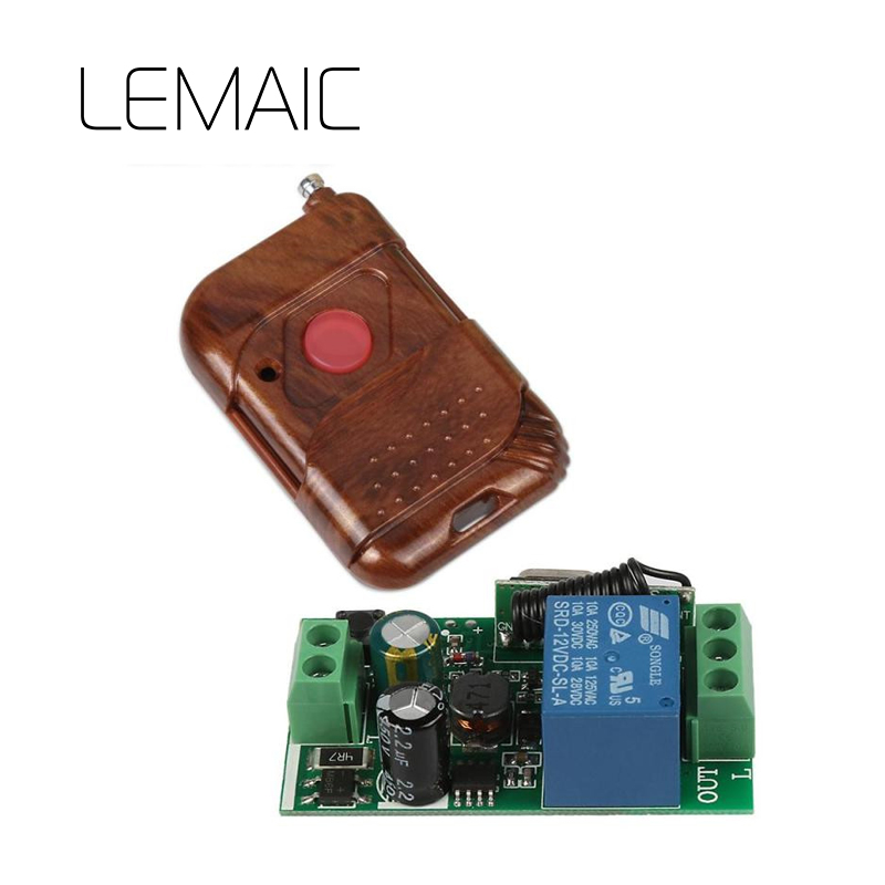 LEMAIC 433 MHz AC 85V~250V 110V 220V Relay 1CH Wireless Remote Control Switch Receiver Module and RF 433Mhz Remote Controls
