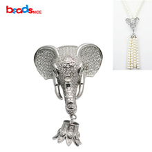 Beadsnice Sterling Silver Elephant Clasp Cubic Zirconia Pendant for Long Tassel Necklace Making Gift Accessories ID 35300