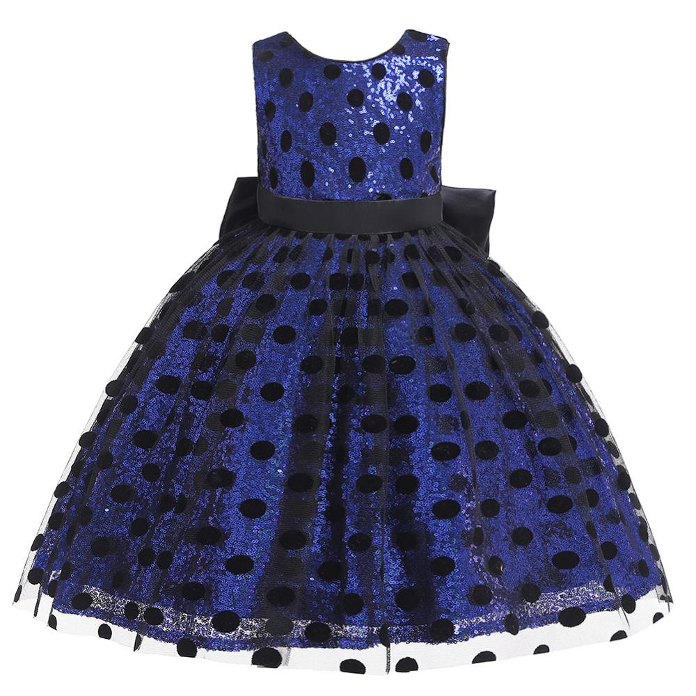 CAILENI Dot Sequin Big Bow Prom Dress For 1-6 Year Girls 2019 New Formal Party Princess Kid Bacll Gown Frocks Blue