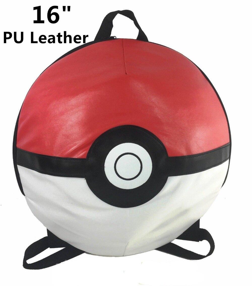 """3d Pokeball 16"""" Round Backpack Big Boys School Shoulder Bag"""