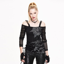 Steampunk Gothic Black Long Sleeves Spaghetti Grommet Straps T Shirts Women Punk Rock Female Tassel Spring Tops Character Print