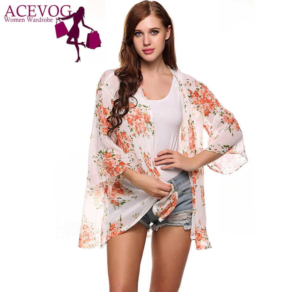 c4b4fc7df1 ACEVOG Women Summer Chiffon Shirt Casual 3/4 Sleeve Loose Light Floral  Print Cover Up Beach Sunscreen Blouse Feminino Chemise