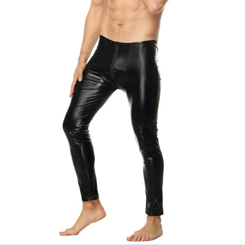 c630a53e0dd78 ... Sexy Men Skinny Faux PU Leather Pants Wetlook Black Trousers Stage  Performance Zipper Front Leather Pants ...