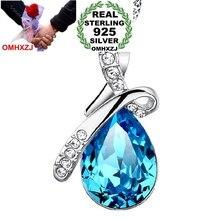 OMHXZJ Wholesale jewelry woman Lake blue angel tear AAA zircon 925 sterling silver pendant Charms PE33 ( NO Chain Necklace )