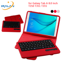Wireless Bluetooth Keyboard Case For Samsung Galaxy Tab A 8.0 inch T350 T351 T355 P350 P355 PU Leather New Stand Flip Cover+Film