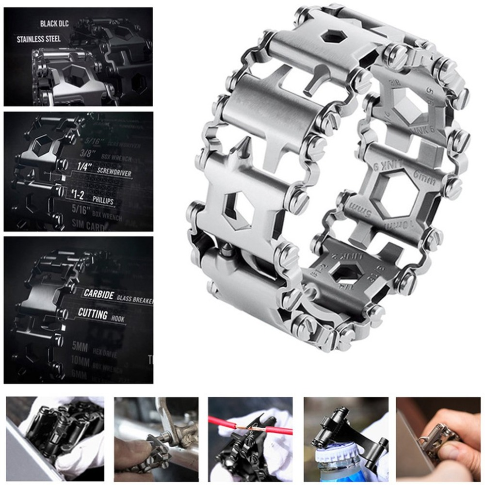 Multifunction Tread Bracelet Stainless Steel Screwdriver Can Opener Hex Wrench Bolt Driver Tools Kit Wearable Tools 29 in 1 multi functions tools bracelets for mens stainless steel wear tread bracelets wearable screwdriver infinity war bracelet