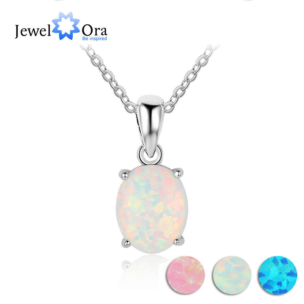Women Milky Opal Pendants & Necklaces With Genuine 925 Sterling Silver Jewelry Wedding Gifts High Quality (JewelOra NE101901)