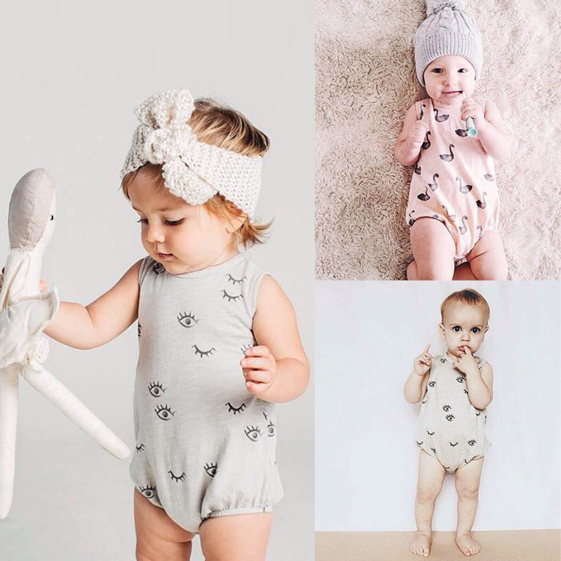 New Baby Girls Boys Romper Summer Clothing Swan Pattern Sleeveless Romper Lovely  Cotton Infant Rompers Fashion One-piece