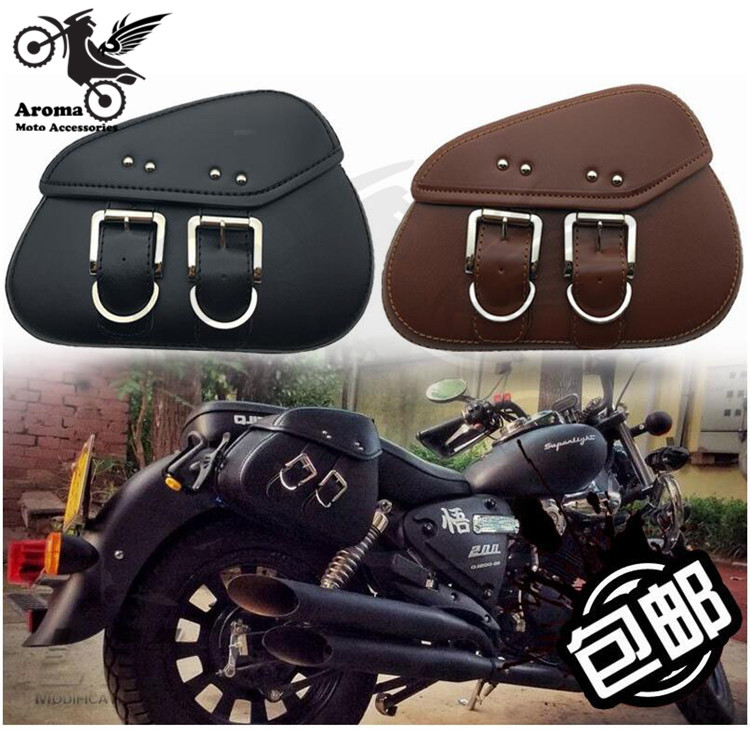 mini leather motorbike saddlebag black cafe luggage moto side bag scooter tail bags for honda yamaha suzuki motorcycle bags 36 48 72 holes pencil case for school fish canvas pouch makeup comestic brush pen storage pencil case school pecncil box b158