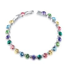 Multicolored Austrian Crystal Women Bracelet Party Engagement Wedding Jewelry Girlfriends Vintage Bracelets Lady Birthday Gifts
